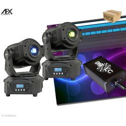Pack 2 lyres AFX spot 60 LED avec logiciel DMXLC
