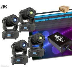 Pack 4 lyres AFX spot 60 LED avec logiciel DMXLC