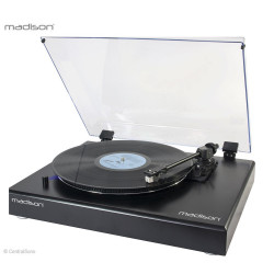 Platine vinyle vintage noire avec cellule Audio Technica - Madison