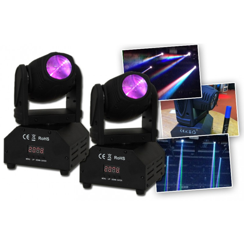 Ibiza LMH250LED Mini Lyre Beam /à LED 4 en 1 10 W Noir